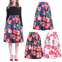 17Colors New 2014 Spring Summer Vintage Cherry Flower Print Ball Gown Pleated Midi Skater Skirt Saia For Women Girl 14513