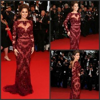 New Arrival Long Sleeves Boat Neck Burgundy Appliqued Nude Tulle Cheryl Cole Zuhair Murad Celebrity Dress Evening Dresses
