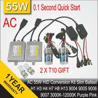 55W AC 12V HID Xenon Conversion Kit Ballast 0.1 Second Quick Fast Start High Quality H1 H3 H4 H7 H11 9005 9006 Free 2 PCS T10