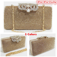 Top Quality Luxury Full Diamond Women Party Clutch Evening Bag. Rhinestone Wedding Crown Velvet Bridal Handbag Black Gold Silver