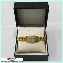 TEXASHOLD'EM POKER CHAIPION Gold Metal Poker Bracelet With Gift Box(China (Mainland))