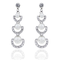 pearl earrings for women   fashion  long drop  crystal earings best gift