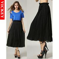 Max 5XL Plus Size European Style 2014 New Fashion Autumn Sweep Pleated Long Chiffong Elegant Women's Black Skirts V167