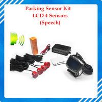 Free Shipping 4 Sensors English Human Voice LCD Parking Sensor Kit Real Person Speech 22mm Car Reverse Backup Radar System 12V