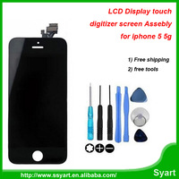 No dead pixel !!!LCD for iPhone 5 Free Shipping Touch Screen Panel Digitizer Full LCD Assembly + Free Tools