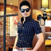 New 2014 desigual brand men's shirts business camisas social korean style men shirt fashion striped men clothing slim fit summer