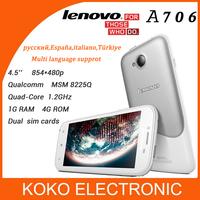 Qualcomm  MSM8225Q quad core Original Lenovo A706 phone 4.5'' 5MP dual sim cards 1G RAM 4G ROM Android 4.1 smartphone