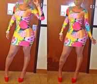 New 2014 Novelty Women mini Bandage dress Sexy Long sleeve Fruits Print Dress Celebrity Bodycon Dress Slim HL Clubwear Dresses