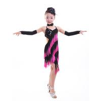 C Black Rose Fringe Shiny Paillette Girl Latin Dance Dress Salsa Dresses Samba Fitness Flamenco Dancing Clothing Set Ballroom A