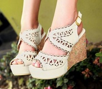 Big Size 32-48 New Summer Women's Sandals Solid Elegant Sweets Concise Cut-Outs Buckle Strap Wedges Platforms Flower QL3959 N