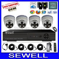 700TVL CMOS 4ch Full D1 HDMI DVR CCTV KIT Day Night Array Led 35M IR distance Security Camera Surveillance Video System Home DIY
