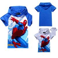 2014 fashion summer spiderman boys t shirt,cartoon children t shirts,baby kids boy's tops tees hoodies clothes retail