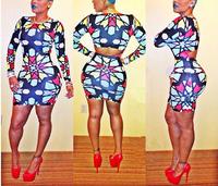 New 2014 Summer Novelty Women midi Bodycon dress Sexy Long sleeve Print Dress Celebrit Bandage Dress Slim mini Clubwear Dresses