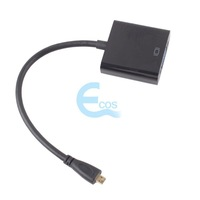 Micro HDMI Input to VGA Output PC Monitor Projector Adapter Cable Converter#55325
