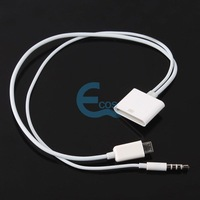 30P Female Dock to Micro USB 5P 3.5mm Male Audio Adapter Cable for iPhone 4 4S#53013