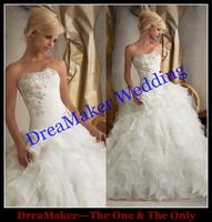 WSL070 DreaMaker Low Price Fashion Ball Gown Wedding Dresses Orangza Bridal Wedding Gowns Real Sample Puffy Wedding Dress 2015