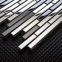 Silver stainless steel tiles striped kitchen backsplash mosaic metal tiles bathroom wall mirror tile liner interlockng pattern