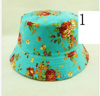 2014 Women floral bucket hat cotton gorras travel casual fishing cap chapeu girls summer hats outdoor sun hat with flower women