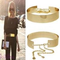 1PCS 66cm Women Punk Full Metal Mirror Waist Belt Metallic Gold Plate Wide Cummerbunds With Chains Lady FK671419