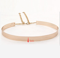 1PCS 66cm Women Punk Full Metal Mirror Waist Belt Metallic Gold Plate Wide Cummerbunds With Chains Lady AY671419
