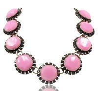 New 2014 JC fashion necklace & pendant statement pink resin stone necklace lady bib chokers collar fashion