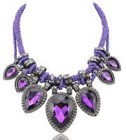 New 2014 JC fashion necklace & pendant Double Rope Chain Purple Crystal Teardrop Bib Statement Necklace Collar Women