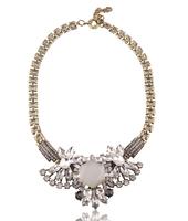 New 2014 JC fashion necklace & pendant White Crystal Stone Necklace multi Bib Statement Collar good quality