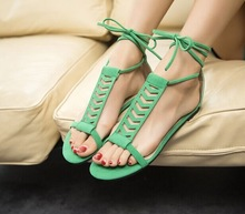 2014 gladiator style sandals flat gauze sandals women  shoes(China (Mainland))