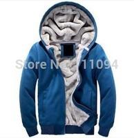 Thick fleece sweatshirt male thickening outerwear with a hood plus velvet male winter jacket men