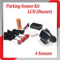 4 Sensors 22mm Buzzer LCD Parking Sensor Kit Display Car Reverse Backup Radar Monitor System 12V 7 Colors Free Shipping