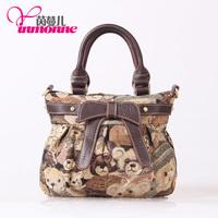 Popular fashion brand, 2014 # 2014 jacquard cloth head layer cowhide lady handbag, inclined shoulder bag, free shipping.