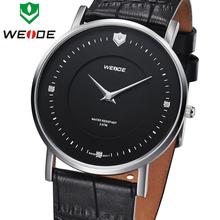 Diseño único marca de lujo WEIDE nuevos hombres del cuero genuino correa relojes Sapphire suizo Ronda movimiento de cuarzo reloj de vestir de negocios