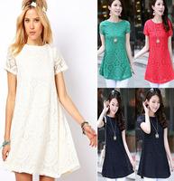 2014 fashion OL style pleated straight women dress, O-neck short seelve lace dresses women summer dress  high quality F.LYQ.346
