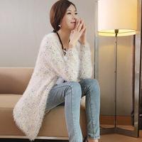 2014 New Fashion Korean Women's Cardigan Sweater Wave Point Long Mohair Sweater Cardigan Sweater Coat 4 Color Free Size