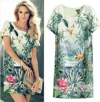 NEW 2014 Women Dress Ladies Elegant Big Birds Painting Landscape Print Floral Vestido Chiffon Vintage Dress Casual Dress