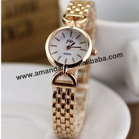 50pcs/lot JW-3376 New Fashion Lady Metal Quartz Watch Unique Design Gold Bracelet Watches Women Diamond Inlay Dress Wrist Watch
