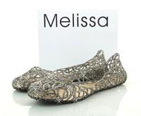 Free Shipping Melissa CAMPANA ZIG ZAG glitter Ballerina Damen size7 S8 S9 S6 S10 Summer Jelly slig on sandal Glitzer flat shoes