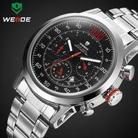 WEIDE brand watch mens military Japan quartz watches complete calendar full steel watch 30m water resistant diving clock