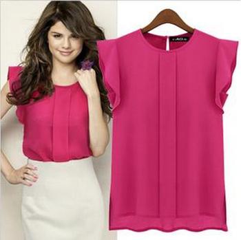 2014 Женщины Шифон Рукавless Ruffles Shirt Blouse Верхs Сплошной Цвет Blouses OL ...