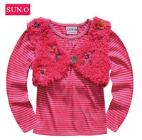 2014 new HK SUNO Spring& Autumn children t-shirts, original brand t shirt girl, pure cotton girls two-piece t shirts