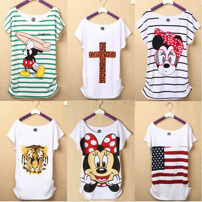 New Fashion Women T Shirts Short Sleeve Lady Print Duck T-Shirts Female Cartoon Tops Cross Tee Lady T-Shirts(China (Mainland))