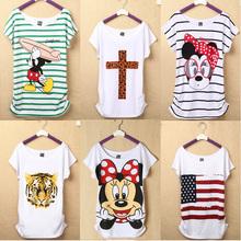 Nova moda feminina camiseta de manga curta senhora pato impressão camisetas dos desenhos animados feminino Tops Tee cruz senhora camisetas(China (Mainland))