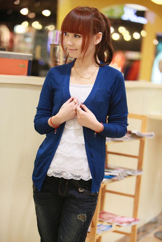 Em estoque verão novo 2014 mulheres malha magro blusa moda Irregular marinha luva cheia camisa Vintage Top para as mulheres tamanho livre(China (Mainland))