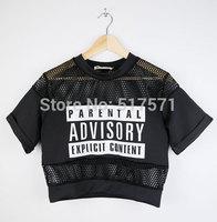2014 Summer Women Parental Advisory Explicit  Content  Hollow Mesh Sheer Crop Top T-Shirt Black/White  Tees