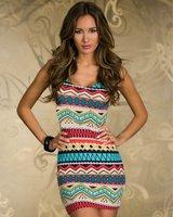 2014 Women  summer  print sleeveless dress bandage bodycon  vintage strips  dress vestidos free shipping