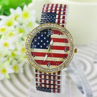 New Fashion stainless steel printed flower Rhinestone crystal Watch for women dress watches quartz wristwatch