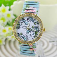 electronic 2014 new fashoin printed flower rhinestone crystal wristwatch for women dress watches quartz watch