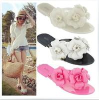 Camellia flip flops shoes female jelly small three-dimensional flower beach women's shoes flat flip-flop sandals