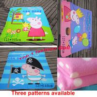 wholesales 3 patterns/lot  peppa pig coral fleece cartoon blanket kids Sleeping Cover Picnic/Travel Blanket Rug Cover