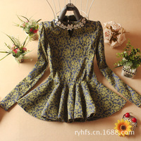 2014 spring and summer women jacquard shirt \ hand-beaded \ waist big swing \ aristocratic style - Free Shipping